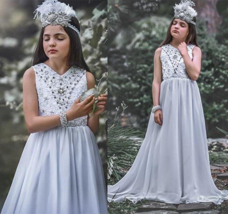 Robes de première communion en mousseline de soie Aline col en v blanc robes de demoiselle d'honneur junior robe de demoiselle d'honneur pour mariage d'été
