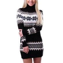 addcf1522859c Nouveau femmes de noël flocon de neige imprimé à manches longues col roulé  pull robe de mode dames slim moulante Mini robe hauts.