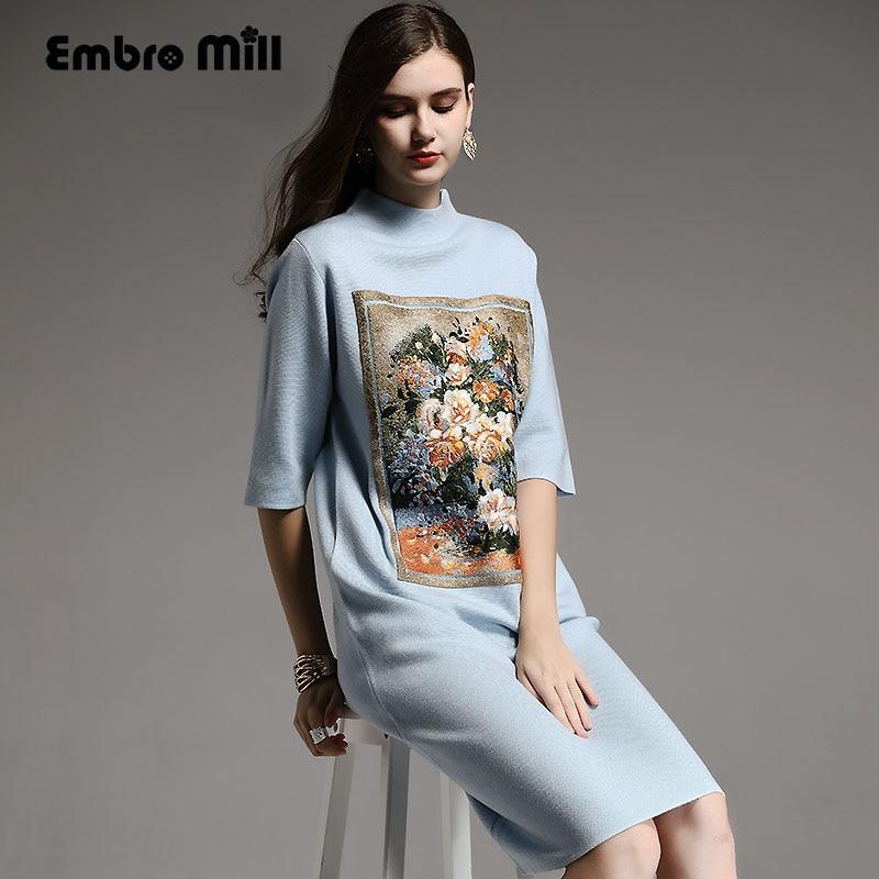Automne hiver base robe Chinois style vintage peinture À L'huile broderie fleur robe élégante lady lâche tricoté robe M-XXL