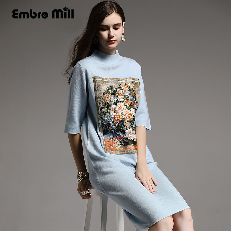 Autunno inverno vestito di base di stile Cinese pittura a Olio dell'annata del fiore del ricamo del vestito elegante della signora ha lavorato a maglia allentata del vestito M-XXL