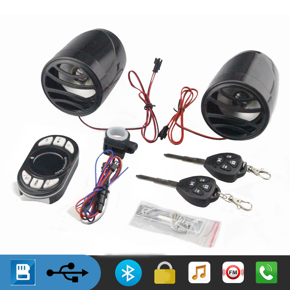 12v Bluetooth Motorcycle MP3 Handlebar Audio Amplifier Stereo Speakers FM Radio Music Player Alarm System Handsfree Call USB/TF motorcycle handlebar car audio fm tf mp3 usb sd handle bar stereo 2 speakers amplifier sound system alarm motorbike anti theft