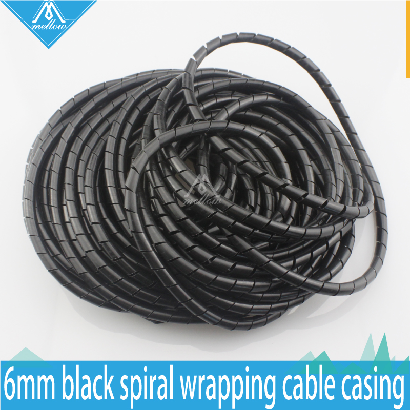 3D Printer RepRap Flame retardant 15M Length ID 6mm Black spiral Wrapping Cable casing Cable Sleeves Winding pipe wrapping band 1 bag 10mm spiral wrapping tube flexible cable sleeves flame retardant winding pipe black white spiral wire