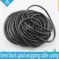 Imprimante 3D RepRap ignifuge 15 M longueur ID 6mm noir spirale emballage câble boîtier câble manchons enroulement tuyau emballage bande