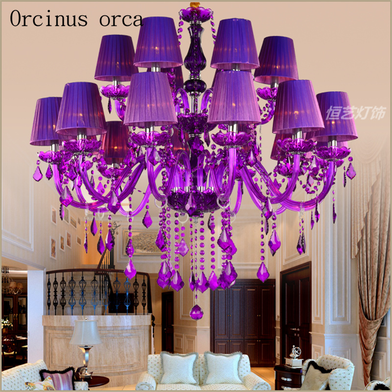 European Luxury Color Purple Candle Chandelier In The