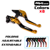 LOGO SV650 For SUZUKI SV650 SV 650 1999 2009 Motorcycle Accessories Folding Extendable Brake Clutch Levers