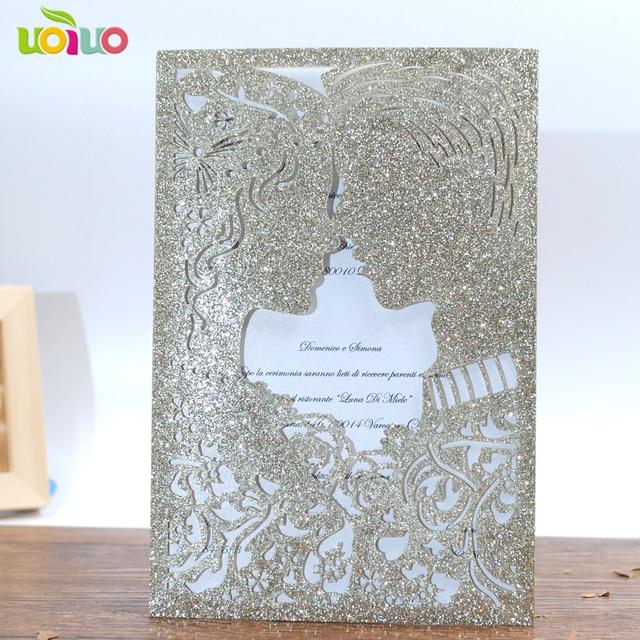 Diy customzied inc266 glitter paper couple wedding invitations card diy customzied inc266 glitter paper couple wedding invitations card pocket tied white bow buckle stopboris Choice Image