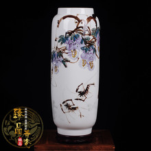 Jingdezhen ceramic vase gifts Yapin famous hand-painted decorative porcelain Home Furnishing new living room