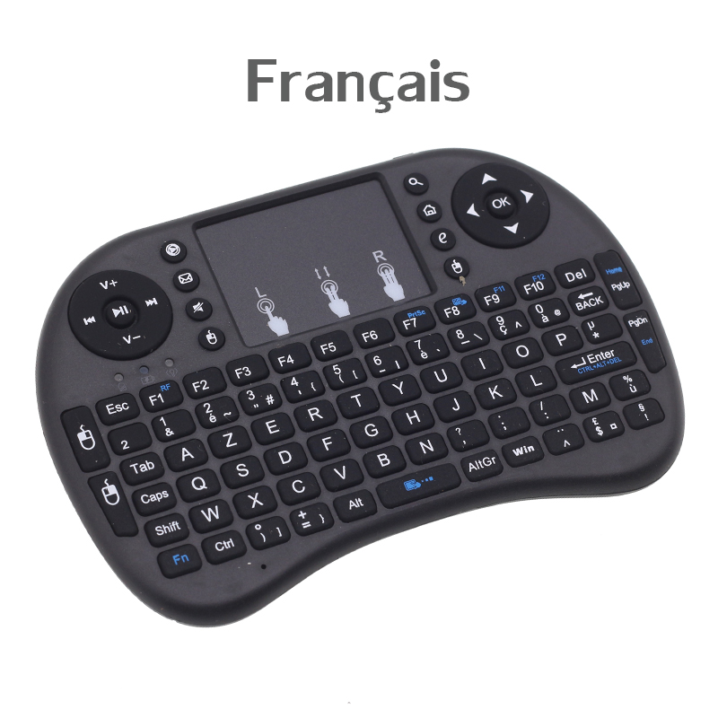 [Free DHL] I8 French Version Keyboard 2.4GHz Mini Wireless Keyboard Air Mouse With TouchPad For Android TV Box, Mini PC