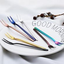 5PCS Stainless Steel Fork Kitchen Tools long handle cutlery fork set Colorful Dinner Dessert Fruit Forks Set Gold Vintage