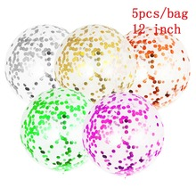 цены WOWEE 12inch Large Latex Balloon Wedding Decoration Inflatable Clear Confetti Balloons Kid Birthday Party Decoration Party Decor
