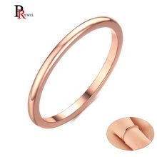 1.5mm Thin Rings for Women 585 Rose Gold Tone Stainless Steel Wedding Party Ring Girl Jewelry(China)