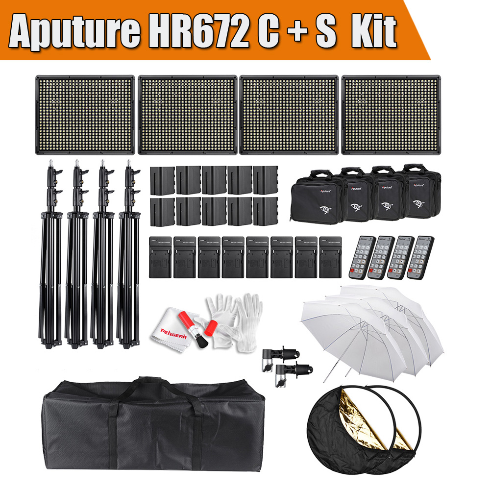 Aputure HR672 Series Kit 3Pcs HR672S & 1Pc HR672C Dimmeable 672 Pcs Led Video Light Panel CRI 95+ with Battery Accessories Kit epson t0921