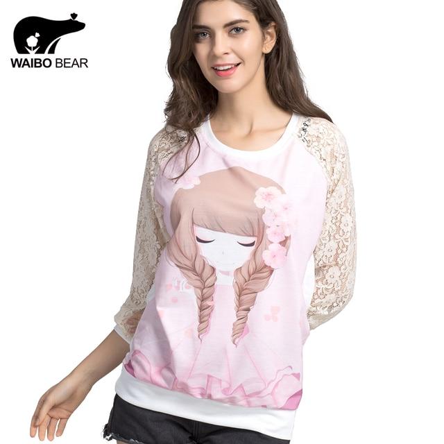 WAIBO BEAR New 2016 Women Hoodies Sweatshirts Lace kawaii cute pink Flower Girl print Sudaderas Mujer Femininas Fashion