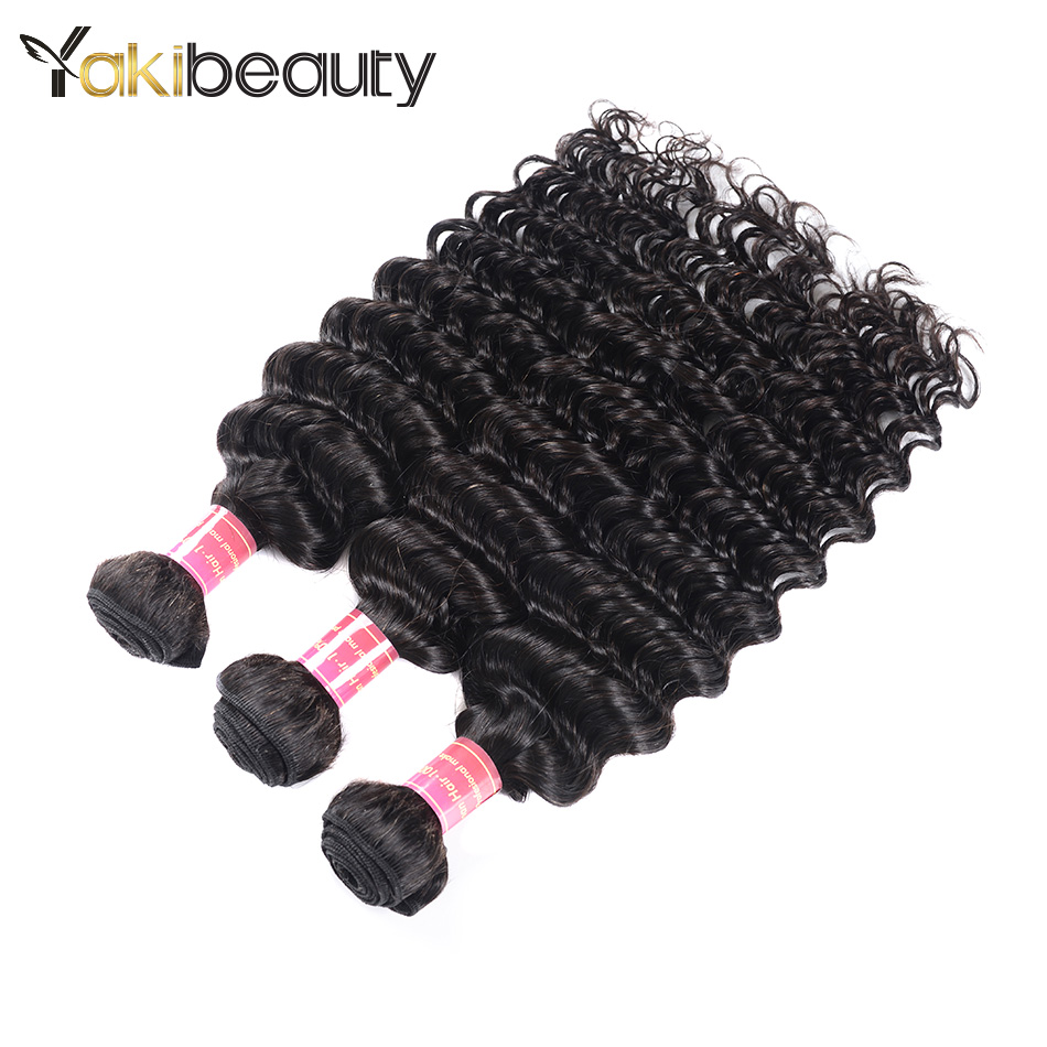 YakiBeauty Indian Deep Wave 100% Human Hair Weave Bundles 8-28Inch Hair Extensions Natural Color Remy Hair Weaving Shipping Free
