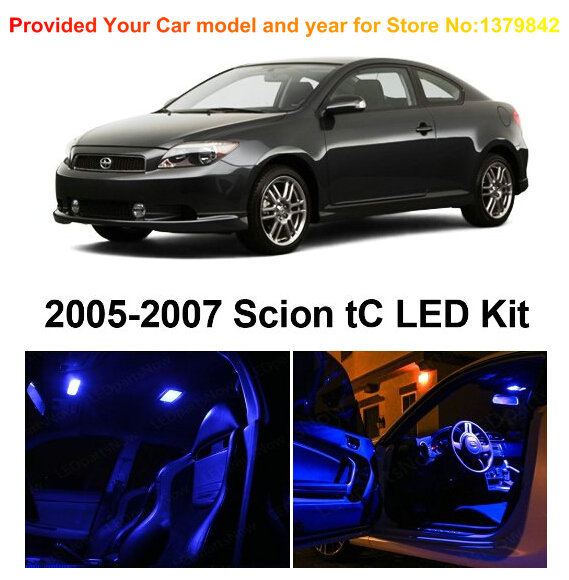 Free Shipping 7pc/lot car-styling LED Lights Car Styling Hi-Q Interior Package Kit For Scion TC 2005-2007