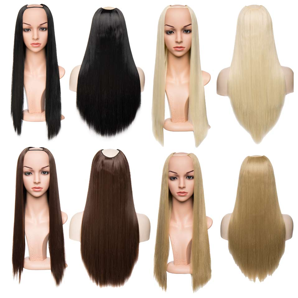 """Flight Tracker S-noilite 26"""" Long Straight U Part Wig Synthetic Hair Extensions Clip Ins Fake Hair Wig Natural Hair Brown Blonde Half Wig To Suit The People'S Convenience"""
