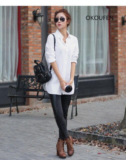 OKOUFEN ЖЕНСКИЕ ЛЕТНИЕ ЖЕНСКИЕ БЛУЗКИ РУБАШКА С ДЛИННЫМ РУКАВОМ Женщины Блузка Плюс Размер Мода Хлопчатобумажную Рубашку