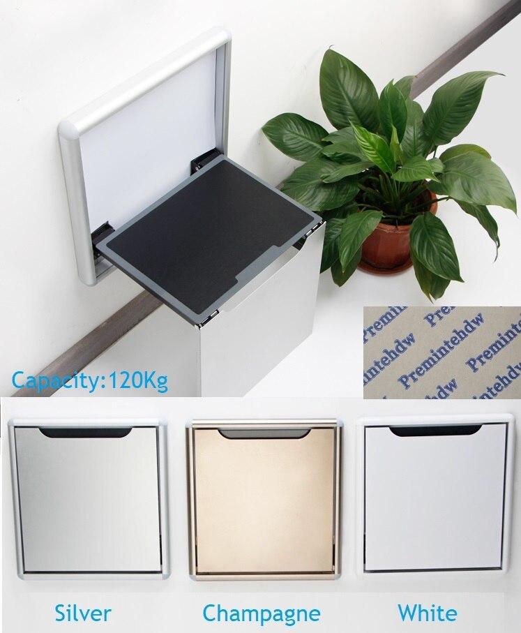 Thin Wall Mount Folding Seat Stool Soft Slow Motion Bathroom font b Closet b font Cloakroom