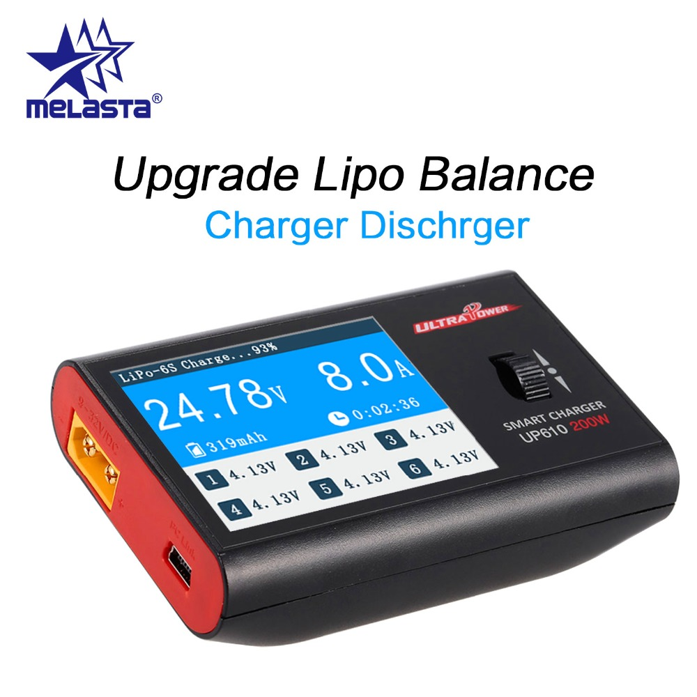 Melasta Lipo Battery Charger, DC UP610 200W 10A 1S-6S Digital Balance Charger & Discharger with XT60 Female Connector