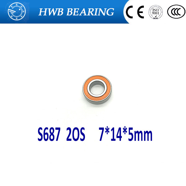 Free shipping 1PC 7X14X5mm S687 2OS CB ABEC7 S 687-2OS Stainless Steel Hybrid Ceramic Bearings/Fishing Reel Bearings free shipping 1pc s693 2os 3x8x4 cb abec7 hybrid ceramic stainless lube dry fishing reel bearing smr693c 2os a7 ld s693 2rs