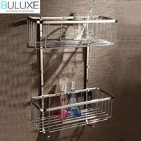 BULUXE Brass Bathroom Accessories Dual Tier Corner Shelf Prateleira Wall Mounted Bath Shelf Accessories HP7734