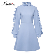 Kinikiss Women Blue Ruffled Collar Dresses Crepe Long Sleeve Chiffon Patchwork Dresses Lady Sweet Elegant A-Line Mini Dress