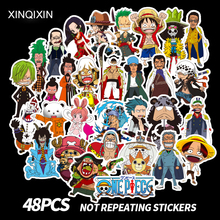 48pcs PVC Mini One Piece Stickers Fashion High Quality Waterproof For Suitcase Refrigerator skateboard laptop