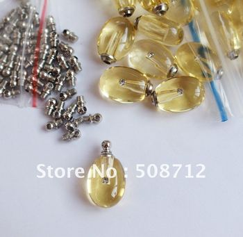 Free shipping!!!Tear Drop yellow Perfume Vials,,Crystal Vial pendant,crystal trinket pendant