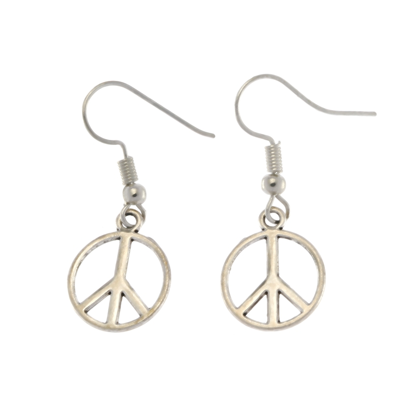 Vintage Antique Silver PEACE SIGN SYMBOL Dangle Earrings Hook DIY Peace  Sign Drop Earring Dangling 2pair S8067 a717114a827a