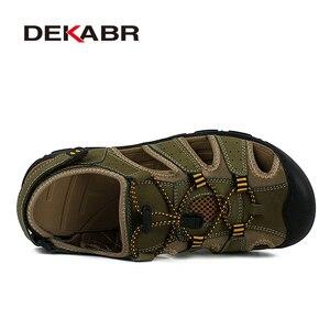 Image 2 - DEKABR del Cuoio Genuino di Estate Scarpe Da Uomo Sandali di Modo Casual Scarpe Maschili Sandali Scarpe Da Spiaggia Suola Morbida Traspirante Scarpe Da Uomo