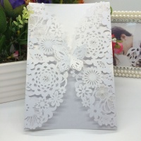 40 Pcs White Beige Pearlescent Paper Invitation Cards Flower Carved Pattern Hollow Out Cards For Wedding