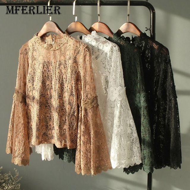 6f8df68acb7b09 Mferlier Women vintage lace shirts Women long sleeve o neck blouse style  ladies fashion Tops blusas Women's Blouse