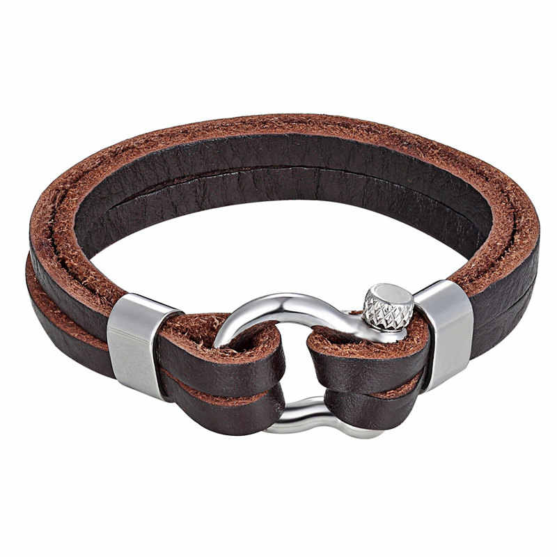 New Fashion Vintage Cowhide Bracelet Multi-Layered Genuine Leather Charm Rope Chain Men Stainless Steel Shackle Buckle Bangles