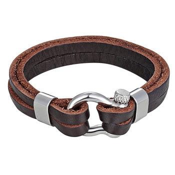 Nouvelle mode Vintage Bracelet en peau de vache multi-couches en cuir véritable charme corde chaîne hommes en acier inoxydable manille boucle bracelets