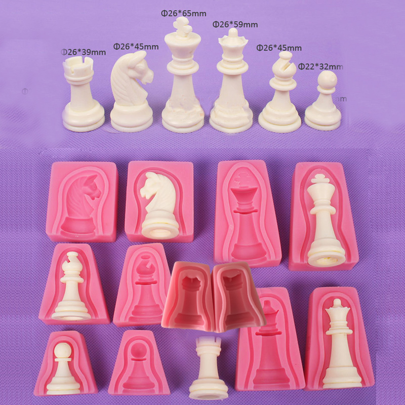Ensemble bricolage International échecs roi reine chevalier Rook pion Bishop Double face Fondant gâteau chocolat moules moule pour cuisson moule