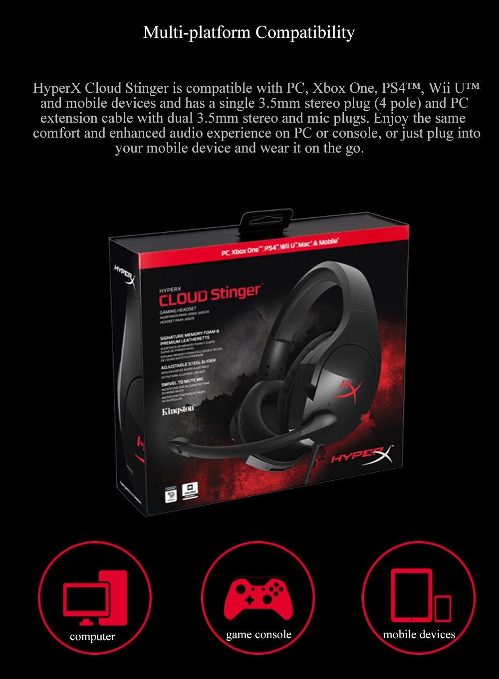 Kingston HyperX Cloud Stinger Auriculares Headphone Steelseries Gaming Headset with Microphone Mic For PC PS4 Xbox Mobile Device (5)