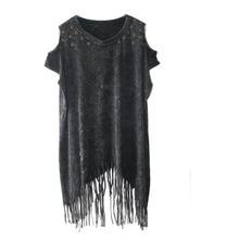 Летние топы с открытыми плечами размера плюс с бахромой в стиле ретро персонализированные футболка ropa mujer roupas femininas Женская одежда