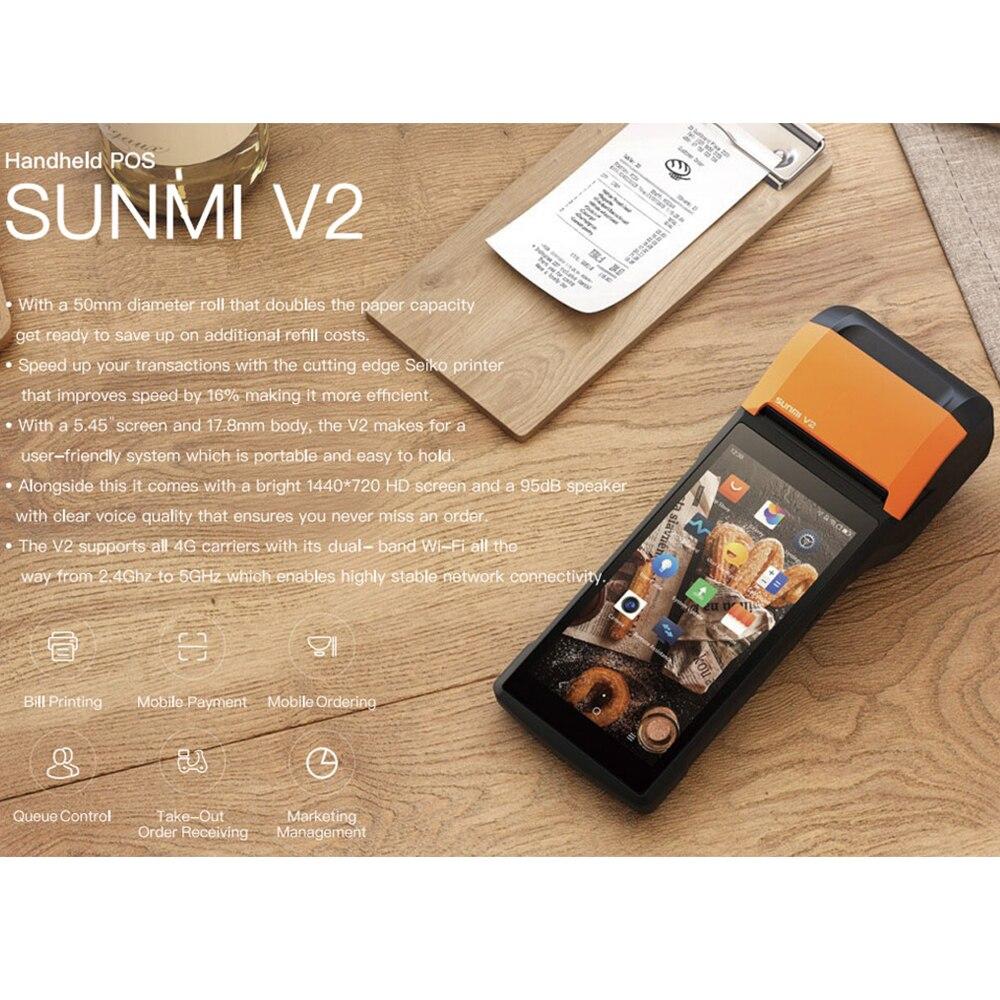 🛒[zonj5] POS Android 7 1 PDA Handheld POS Terminal Sunmi V2
