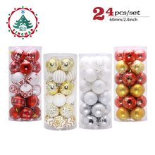 ФОТО inhoo 24pcs christmas decorations for home balls 6cm pendant accessories christmas ornaments tree hanging ball diy baubles gifts