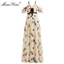 MoaaYina Fashion Designer Runway dress Spring Summer Women Dress Spaghetti strap Ruched Chiffon Dresses все цены