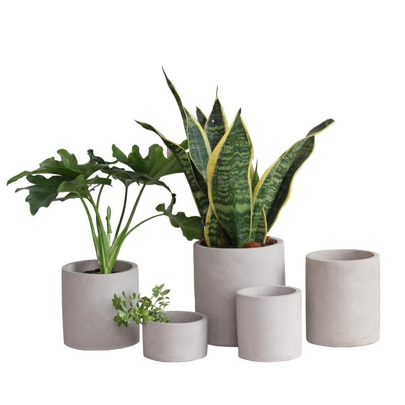Round And Square Cement Flower Pot Crafts For Cactus Succulent Plants Concrete Planter Vase Nordic Decoration Home Decoration