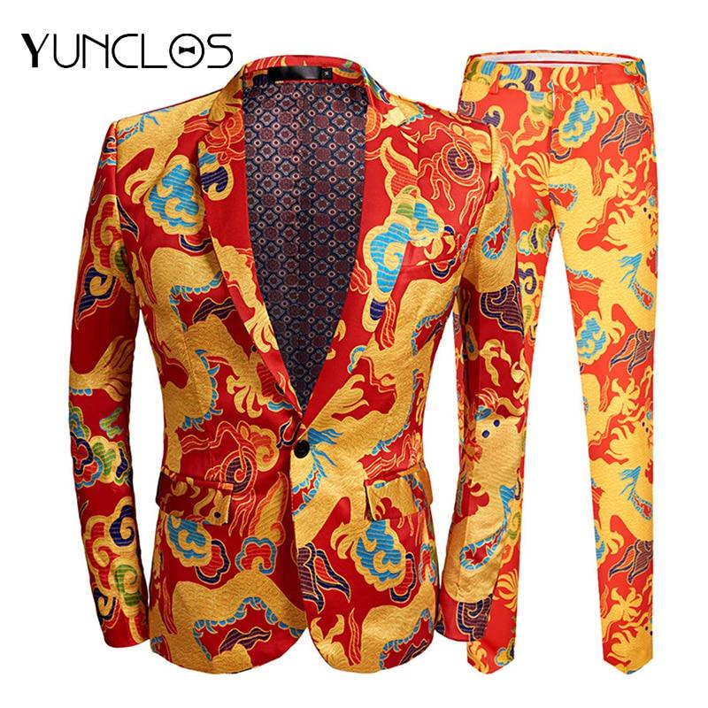 YUNCLOS 2019 New Jacquard Men's Suits Slim Fit Party Suits 2 Pieces Jacket & Pant Prom Suits Men Formal Performance Suits