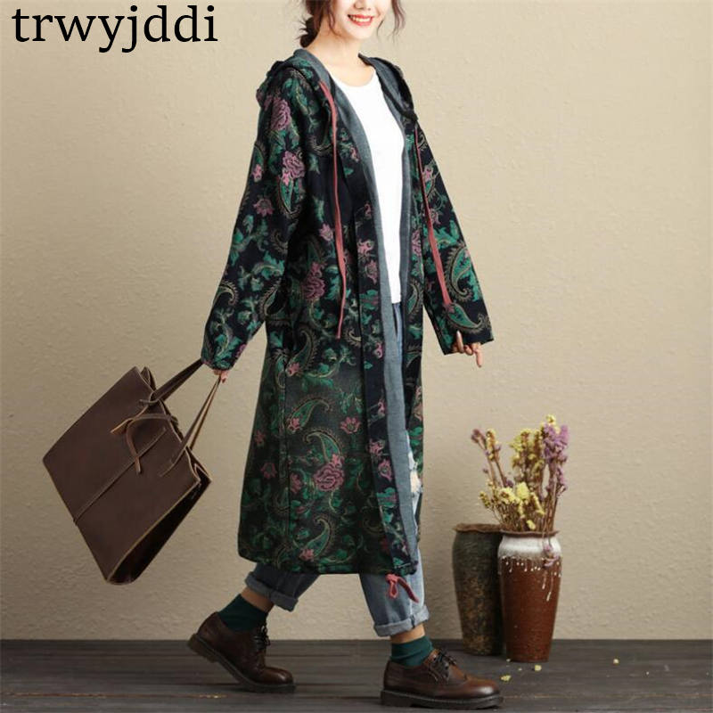 2019 New Women's Large Size Hooded Long   Trench   Coats Flower Print Cardigan Coat Spring Autumn Casual Windbreaker Coat N498