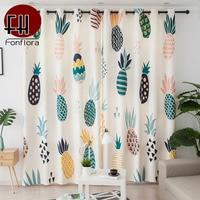 3D Curtains For Kids Room Living Room Pineapple Printed Cartoon Window Curtains For Bedroom Children Velvet Hemp Fabric Custom