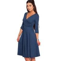 Bodycon V Neck Three Quarter Sleeve Knee Length New Fashion Hot Sale Women Dresses Spring Autumn