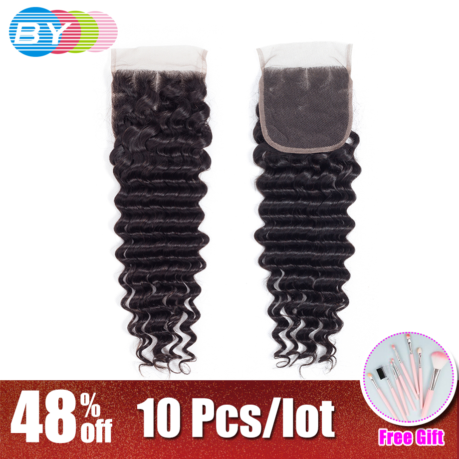 BY 100 Brazilian Human Hair Deep Wave 8 22 Inch 4 4 Lace Closure Natural Color