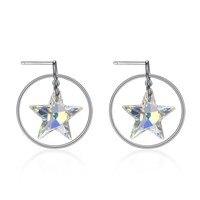 Fine Women Crystals from Austria Stud Earrings Charm Lady Party Sterling Silver 925 Crystal Star Earrings Hoop Dangle Ear Wears