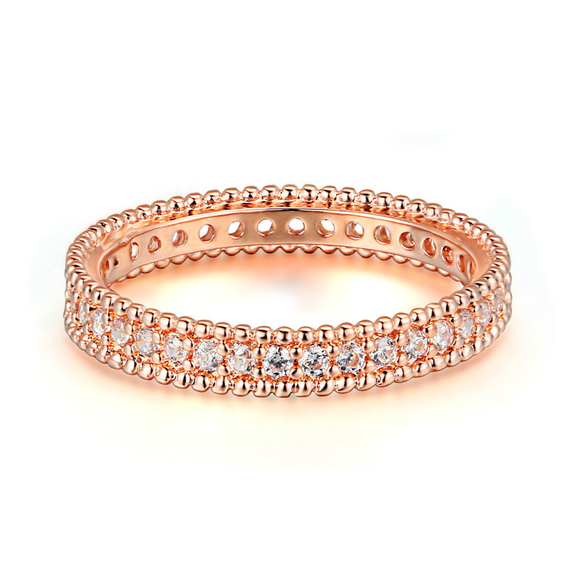 Trendy Anel Masculino Rose Gold 585 Plated Anillos Wedding Rings For Women Zircon Jewelry Aneis Vintage Bijoux Bague QQ197
