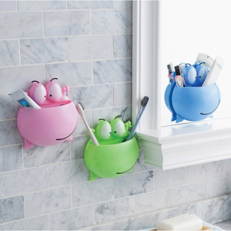 Cartoon Cute Big Eye Frog Toothbrush Holder Multi-function Wall Suction Cup Toothpaste Storage Rack image