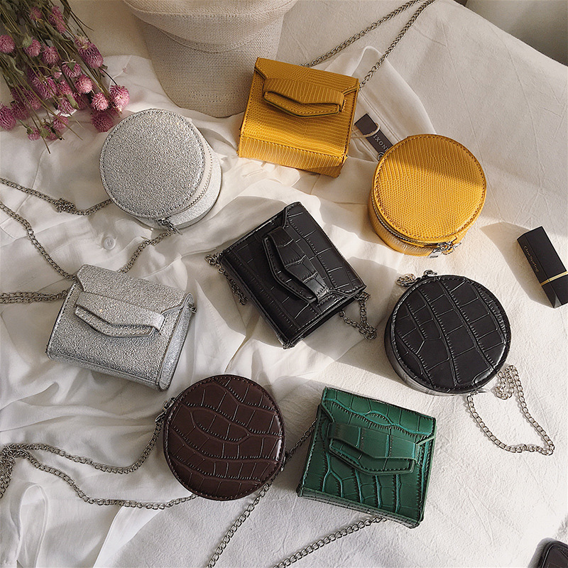 Pu Leather Alligator Crocodile Leather Mini Crossbody Bag For Women Chain Solid Color Round Messenger Shoulder Bag Female 2019Pu Leather Alligator Crocodile Leather Mini Crossbody Bag For Women Chain Solid Color Round Messenger Shoulder Bag Female 2019